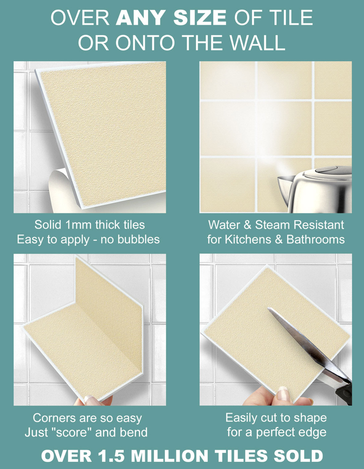 9 Black Metro 8 x 4 Stick On Wall Tile Stickers For Kitchens ...